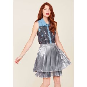 Modcloth Silver High Waisted Layered Pleated Skirt